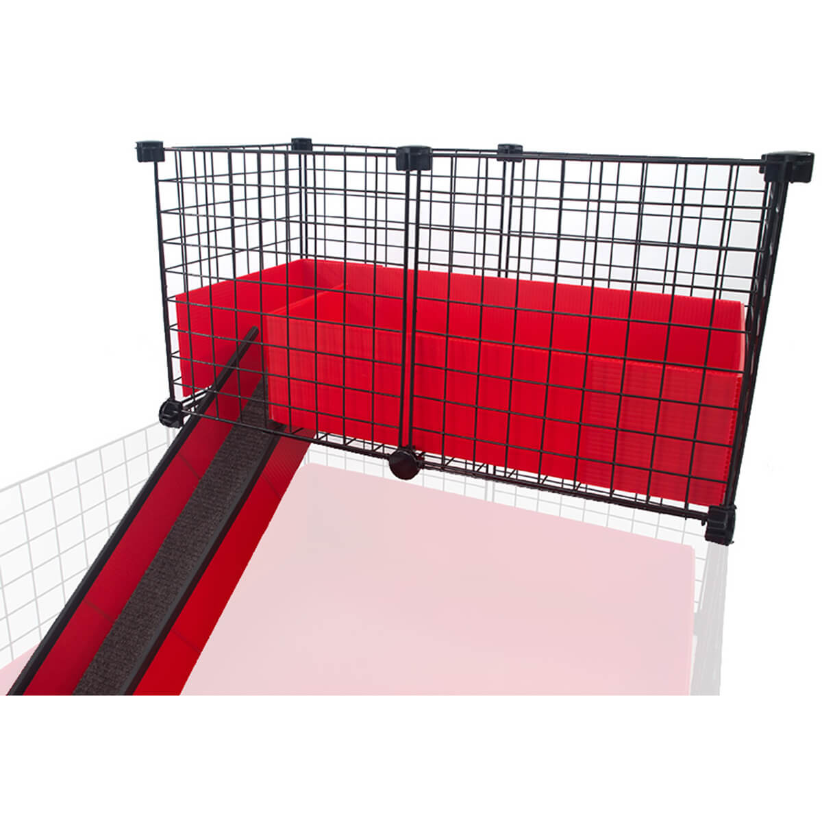 Narrow loft with ramp lofts c c cages for guinea pigs for Coroplast guinea pig cage for sale