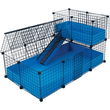 Medium with narrow loft covered deluxe covered cages for Coroplast guinea pig cage for sale