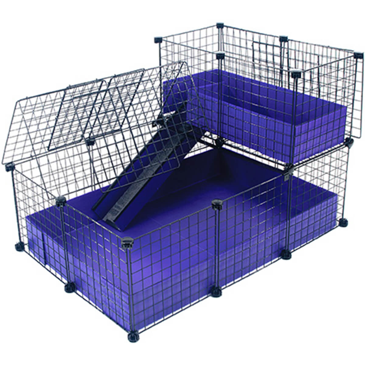 Small with narrow loft covered deluxe covered cages c for Small guinea pig cages for sale