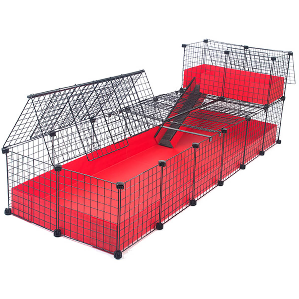 Jumbo with narrow loft covered deluxe covered cages c for Build your own guinea pig cage