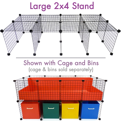 Large Cage Stand with Bins for 2x4 C&C Cagetopia Cage