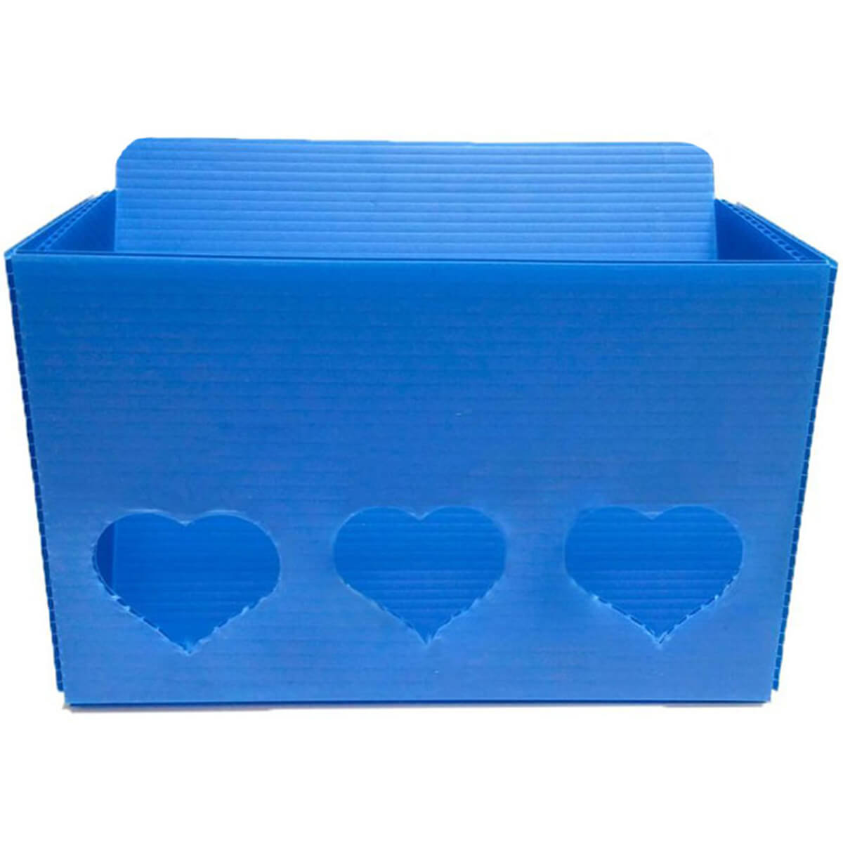 Hearty Hay Buffet - angled hay container in blue