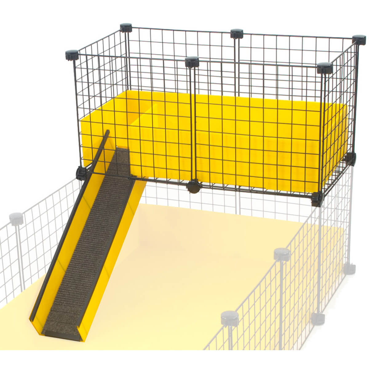Narrow loft with ramp in yellow for C&C Guinea Pig Cages