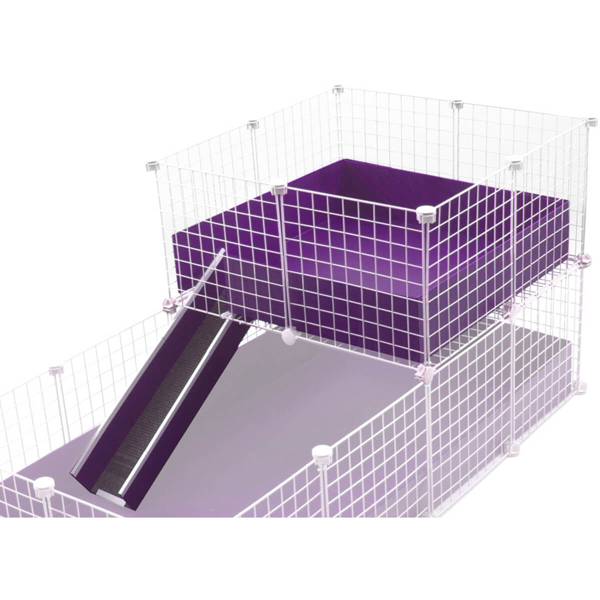 Wide Loft with Ramp shown in purple for guinea pig C&C cages, made by Cagetopia