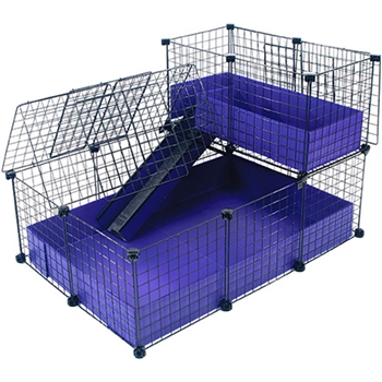 Small with narrow loft covered deluxe covered cages c for Coroplast guinea pig cage for sale