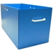 Side view of blue bin