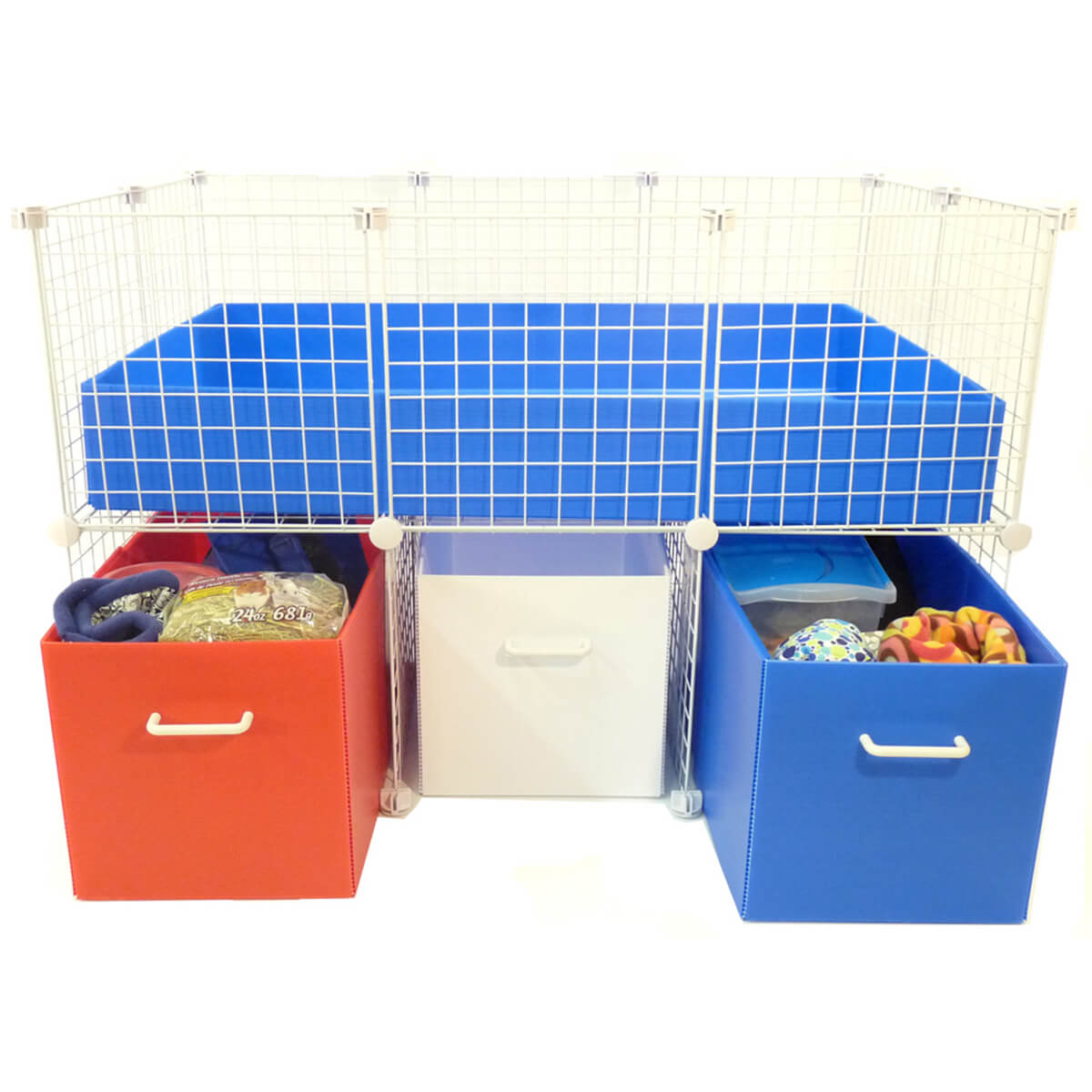 Small Cubby Bin System with bins open